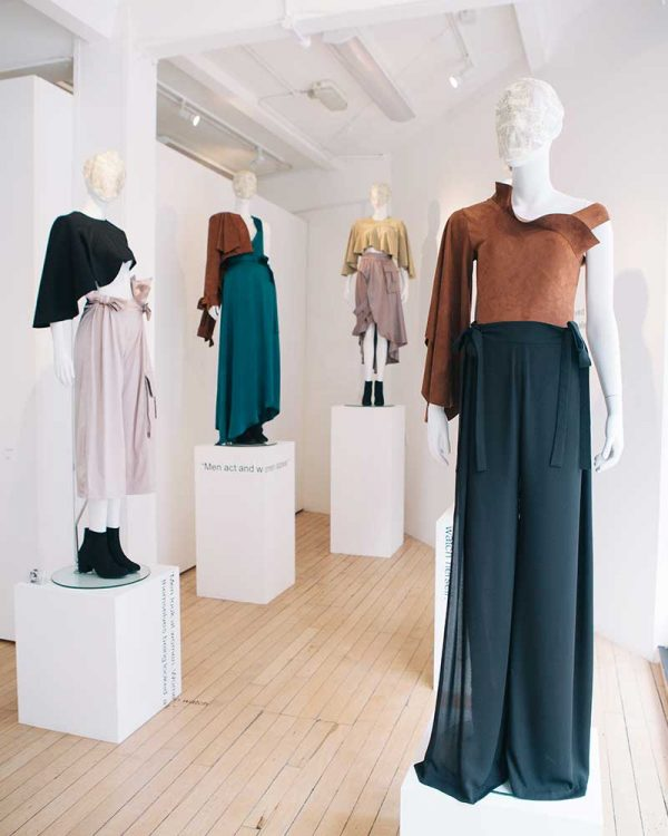 Uzair Khan - Image of four manequins wearing garments designed by NUA MA Fashion student Uzair Khan
