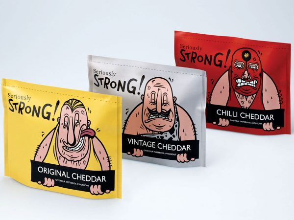 Chris Webster - Images of cheese packaging designs with wrestlers faces on