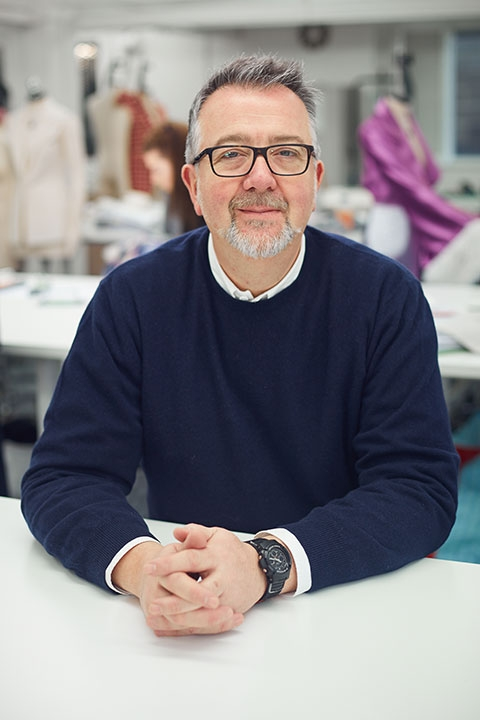 Ike Rust, Senior Lecturer at Norwich University of the Arts in fashion studio