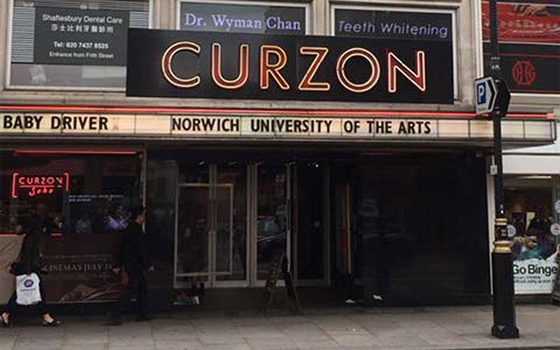 Curzon Cinema featuring Norwich University of the Arts on the letter board
