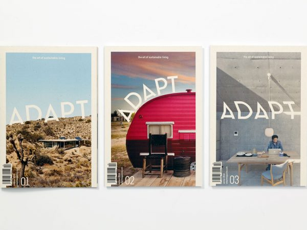 Sarah Strandoo - Image of three designed publications with the title Adapt