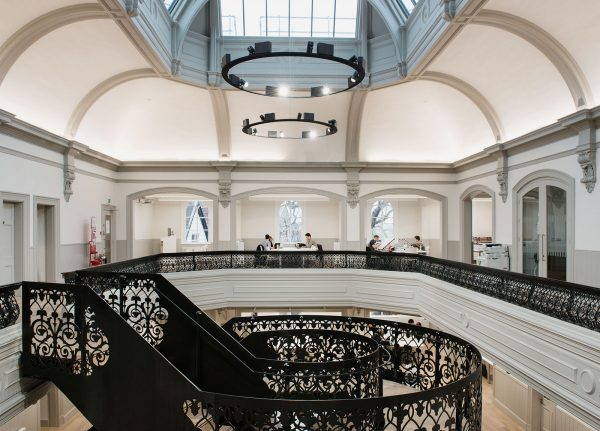- Image of the internal room of NUA's Architecture building including a round staircase