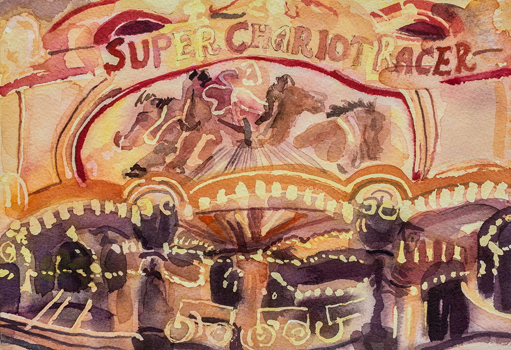 Archie Franks 'super chariot' painting showing a fairground