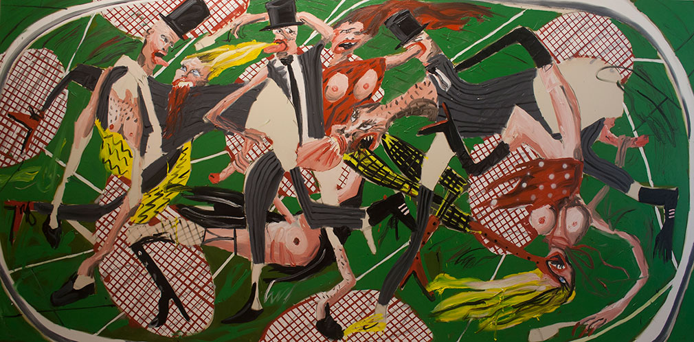Dale Lewis Champagne painting from Jerwood Painting Fellowships showing multiple bodies on green background