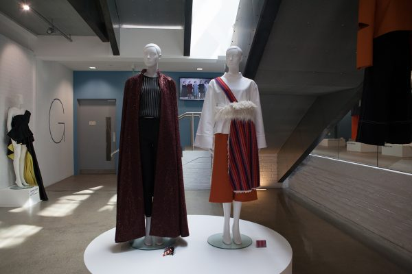 - Two fashion mannequins in Gunton's Building foyer at BA Degree Show 2017