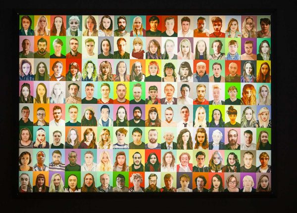 - Digital image of a montage of faces in bright colours