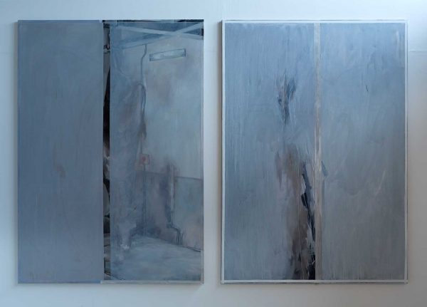 Emma Craknell - Image of two blue paintings which depict studio scenes but a blue wash of paint has been added over the studio painting