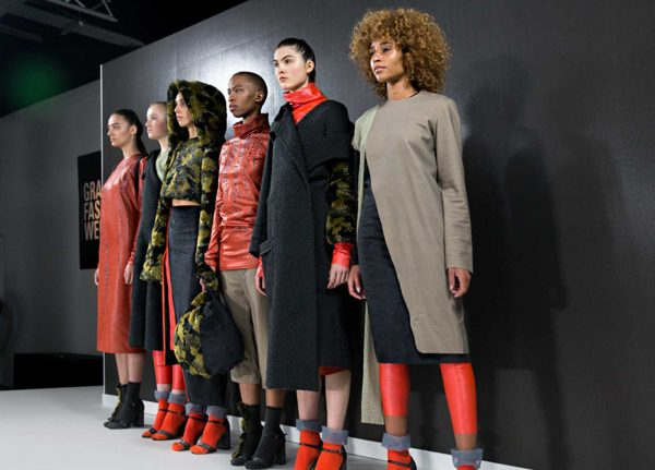 Bethany Covill - Image of a red, black and green collection of garments at Graduate Fashion Week