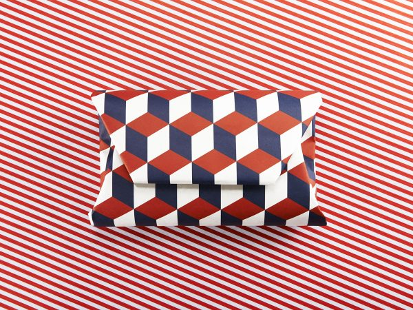 Henry Jackson - Image of a box wrapped in geometric wrapping paper