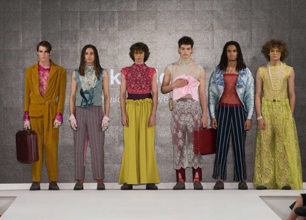 Jack Wildash - Image of a male collection featuring bright colours and lace garments by NUA Fashion student Jack Wildash at Graduate Fashion Week