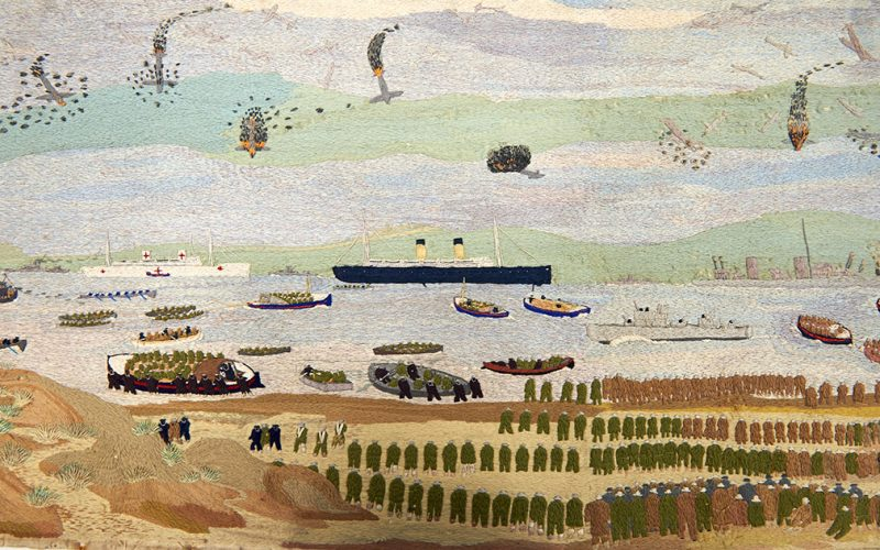 Painting by John Craske showing river and boat during the First World War