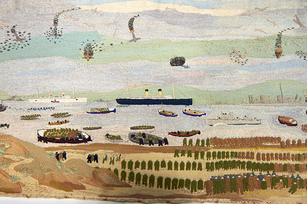 John Craske painting showing the First World War beach and sea