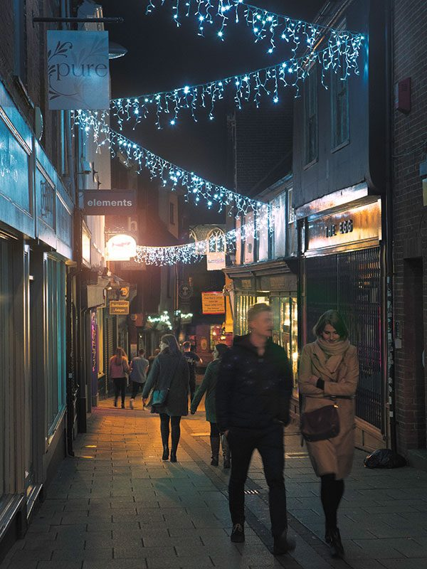 Norwich Lanes - Nightime image of the streets of the city of Norwich