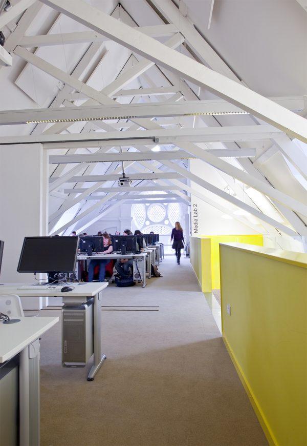 - Interior photograph of NUA's media lab