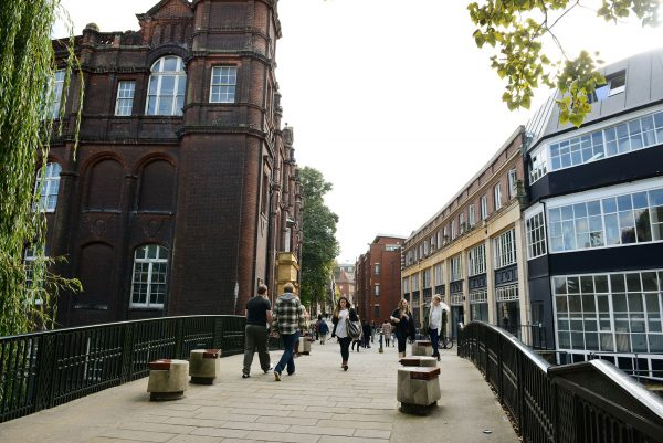 - Photograph of NUA's St George's and Guntons Building from across the bridge