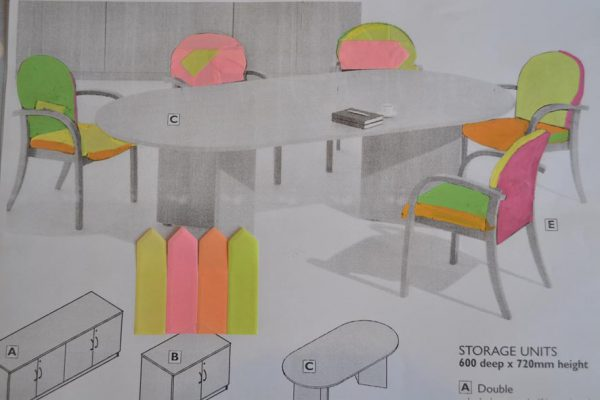 Sarah Horton - Drawing by Fine Art Research Degree student Sarah Horton showing chairs and office furniture with post it colours.