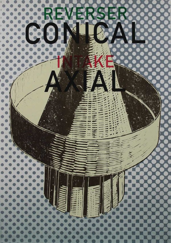 Conical Axial - Printed drawing with text by fine art course leader Carl Rowe