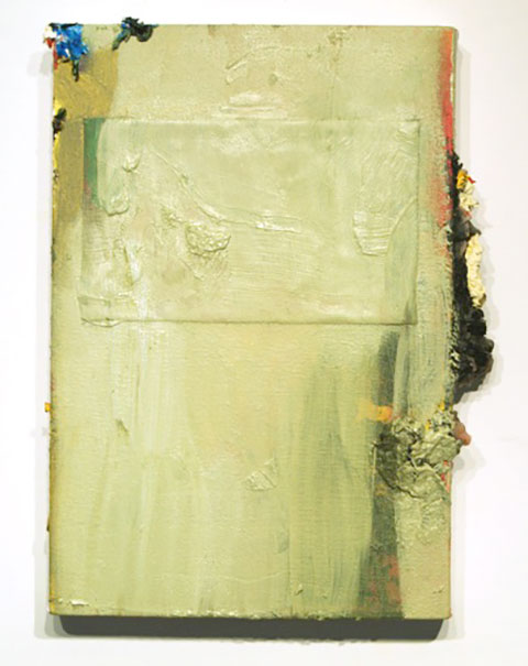 HistoryC20R, 2014 - Abstract painting mostly in pale olive green, showing streajs if orange and darker green beneath