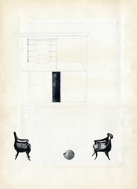 Illustration - Black and white drawing of two chairs facing each other with a football on the floor between them with a pale geometric drawing behind the whole scene