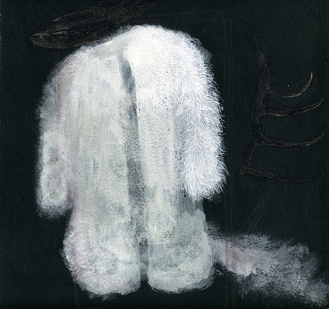 Illustration - Painted illustration of a large white fluffy coat in a black background