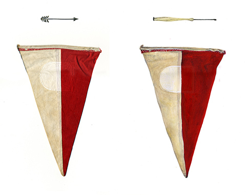 Illustration - Illustration of two triangles next to each other pointing down, that are pale on the left and red on the right, with a small long line drawing above each triangle