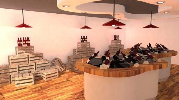 Wine Shop - Screen shot of a game wine shop, with wooden floors and free standing wooden counters loaded with wine crates and bottles