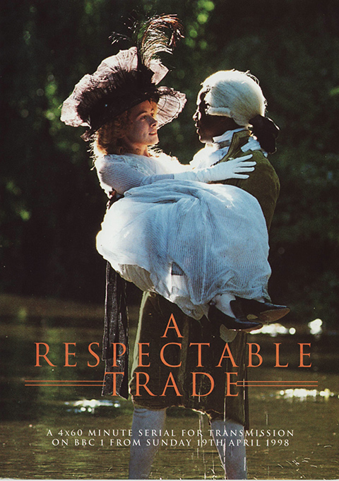 'A Respectable Trade' poster - Cover photo for 'A Respectable Trade' of a woman in a white dress, gloves and purple hat being carried by a man in a white wig