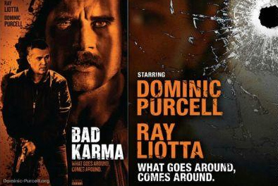 'Bad Karma' poster - Film poster for Bad Karmer, with a close up of glass with a bullet hole through it on the right and two male figures on the left.