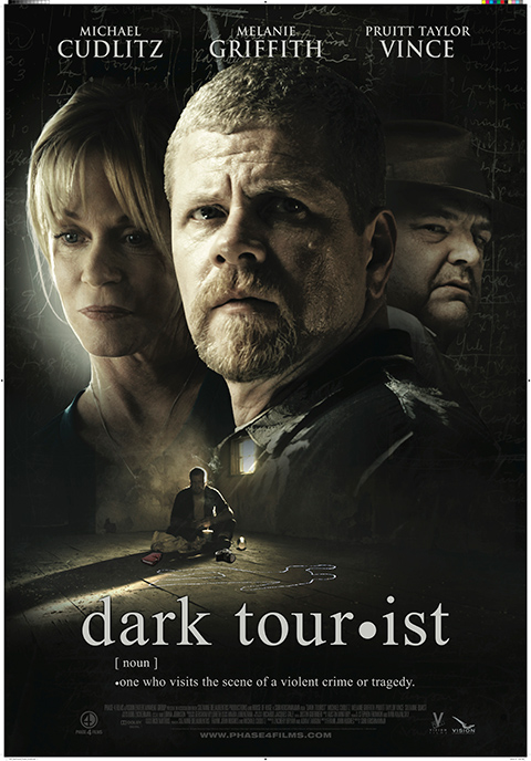 'Dark Tourist' poster - Film poster for Dark Tourist, showing close-up photographs of two male faces on the right and a female face on the left, with white text