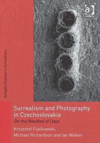 Surrealism and Photography in Czechoslovakia - Red and grey book cover entitled Surrealism and Photography in Czechosolvakia with an abstract photo of four circles in a line