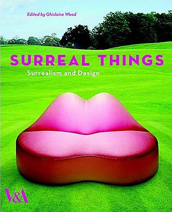 Surreal Things - Book cover entitled Surreal Things with a large lime green lawn with trees in the distance and a pink mouth shaped sofa