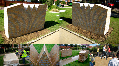 Public Art Colchester - Four photographs in the same image of a brick sculpture with zig zig top on grass from different angles