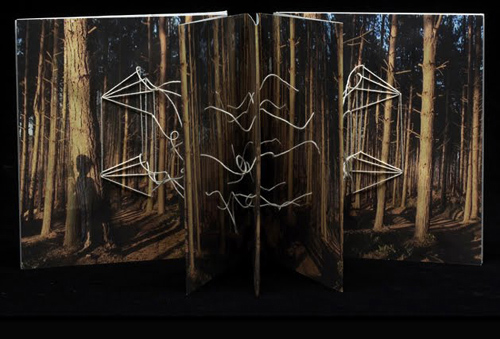Bookwork - Image of a standing concertina book in dark colours, connecting with threads between the pages