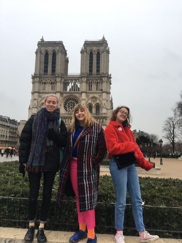 - Norwich University of the Arts students in front of the Notre Dame