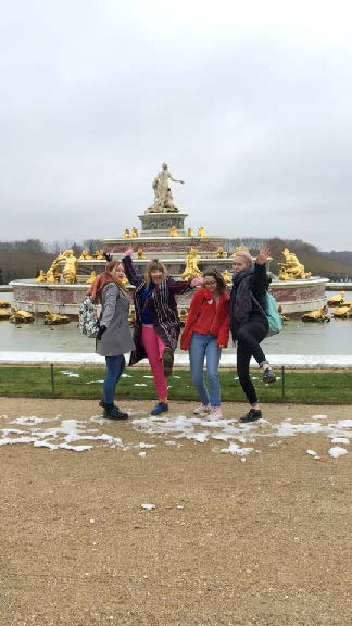 - Students in front of fountain in Paris