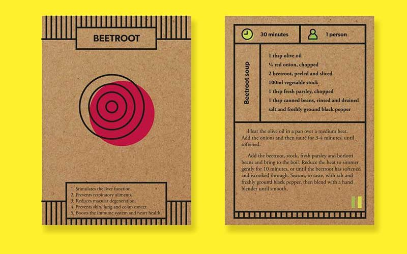 Graphic design packaging for a recipe featuring beetroot, designed by MA Communication student Raquel Jiminez