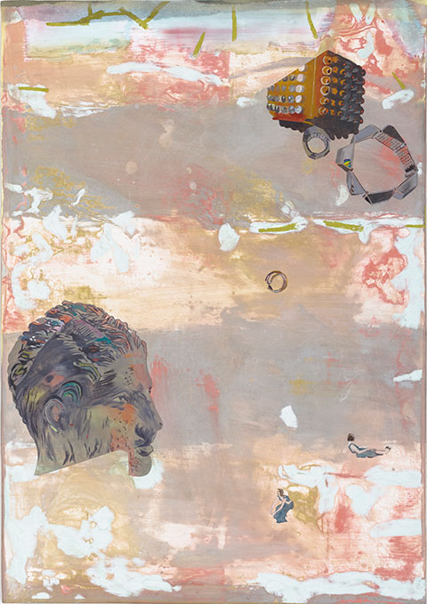 Scatter - Abstract painting with white and beige background with yellow and red flecks, overlaid with a more detailed image of a male head and two abstract drawings in the top right corner