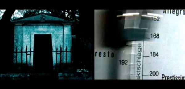 Artaud's Journey - Still from a film, with a turquoise structure in the dark on the left and a close up of a syringe on the right