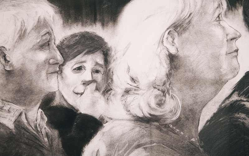 Drawing by Elizabeth Monahan, MA Fine Art at Norwich University of the Arts depicting three people with one looking towards the viewer