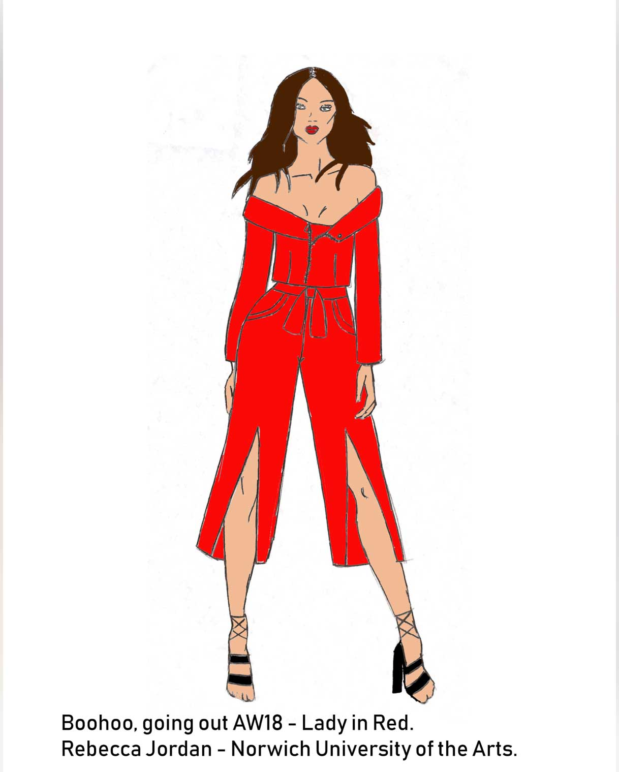 Rebecca Jordan illustration of 'Lady in Red' for Boohoo