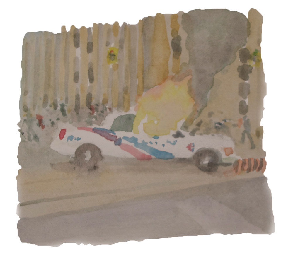 Mark Crofton Bell, 27-06-10 (Police Car), 2010, watercolour on paper