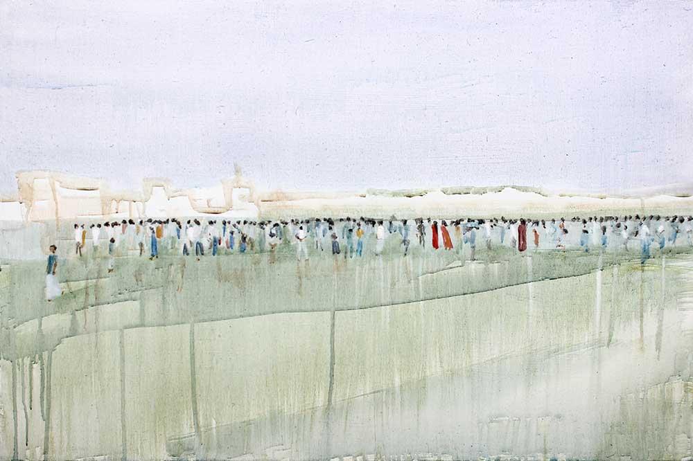 Matthew Krishanu, Crowd, 2014, oil and acrylic on board