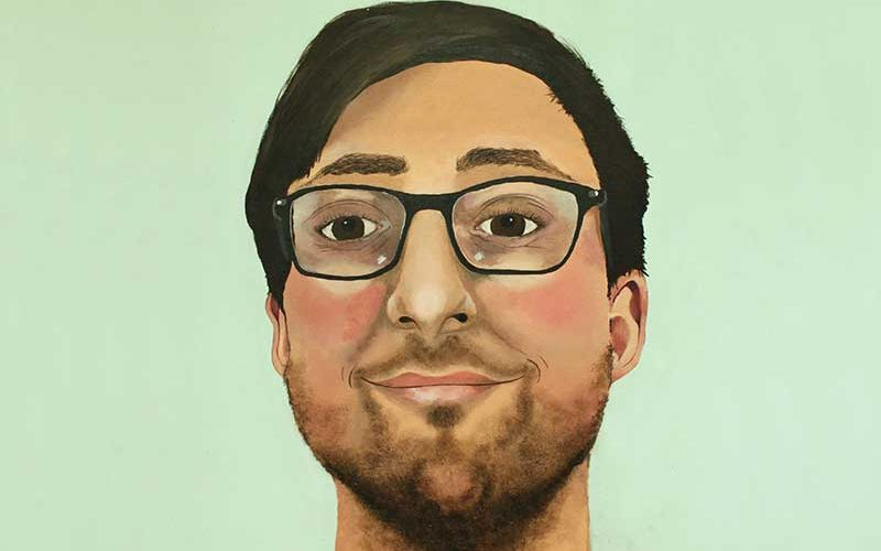 Norfolk Art and Design Competition 2017 winning entry of a painting by Lexie Cox, showing a man with glasses