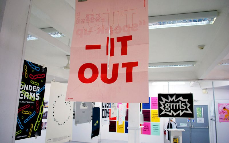 Posters in the Norwich University of the Arts Degree Show