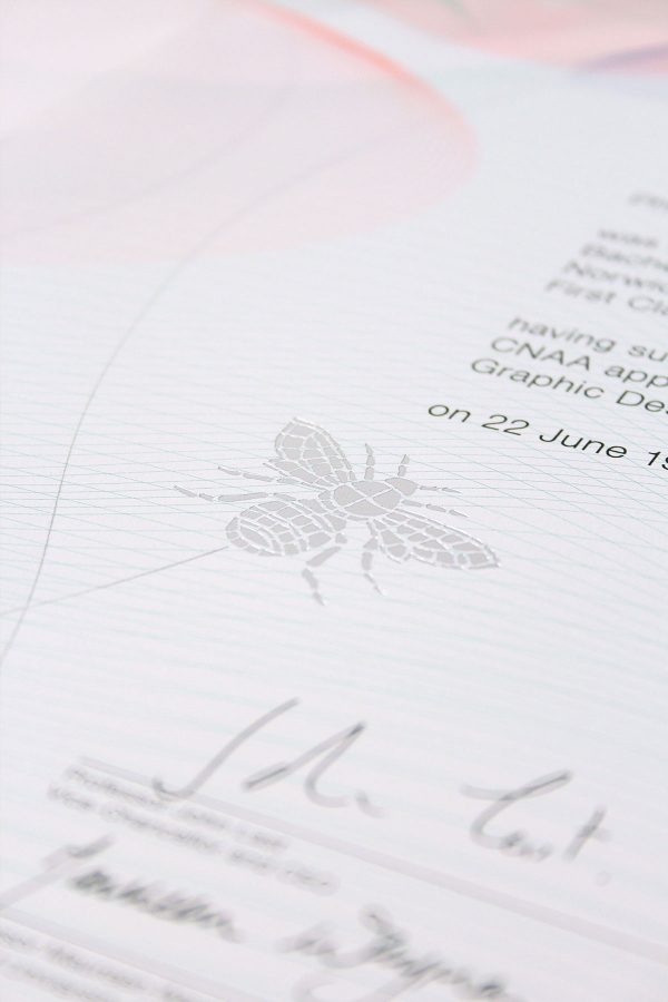 - Close up of detail on Norwich University of the Arts Degree Certificate