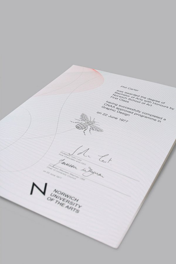 - Norwich University of the Arts Degree Show certificate