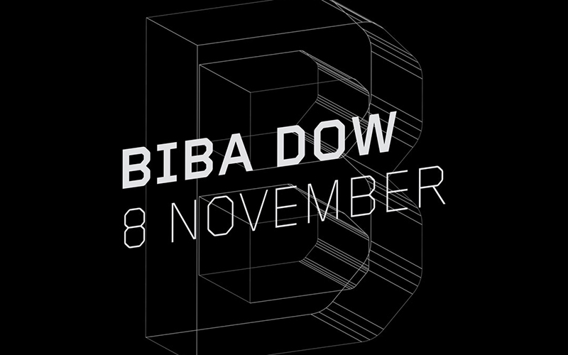 Black and white image promoting Biba Dow's talk on 8 November