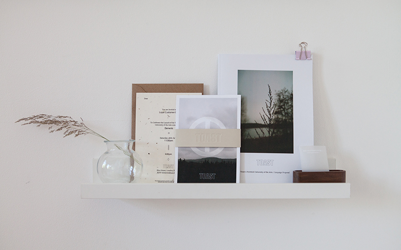 Work by FCP student Beth Poulter of branded postcards and posters on a white shelf