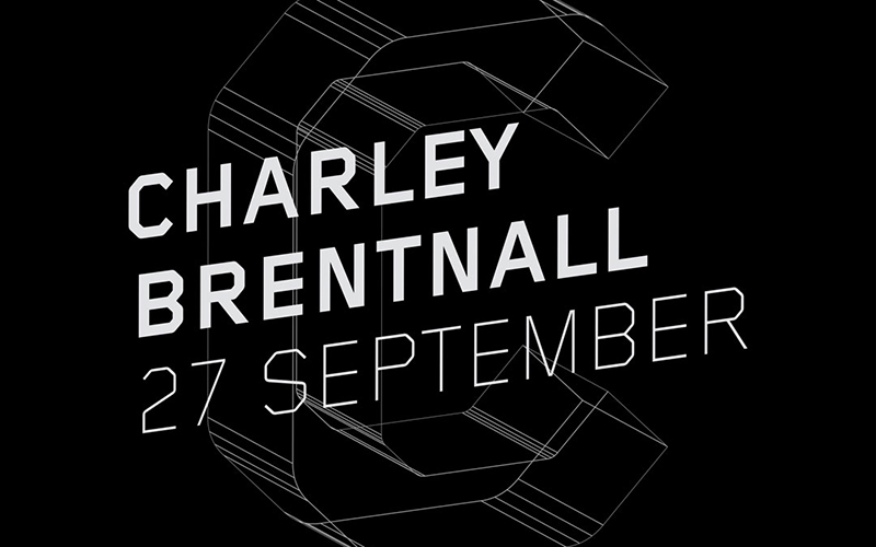 Black and white image promoting Charley Brentnall's talk on 27 September