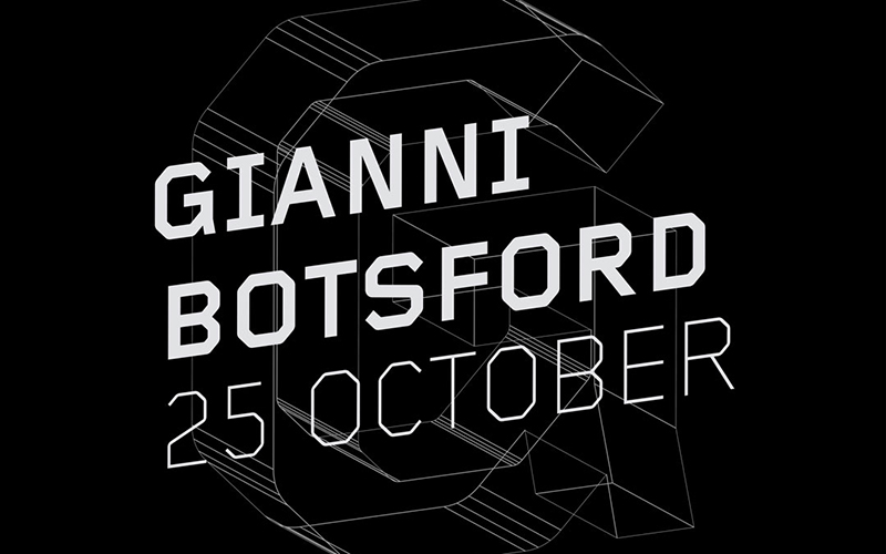 Black and white image promoting Gianni Botsford's talk on 25 October